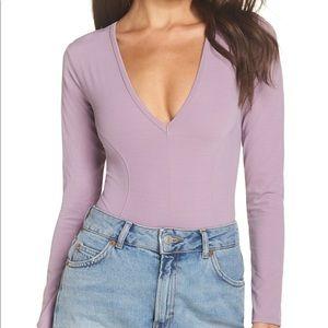 4/$25 Free people large bodysuit thong lavender